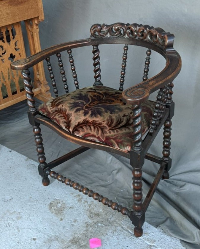 BARREL BACK CARVED ARM CHAIR