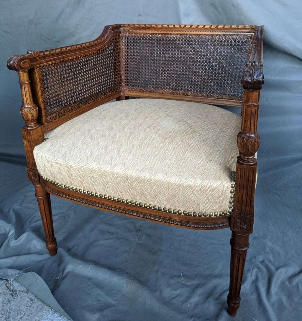 PETITE LOUIS XVI CANED CHAIR-AS IS SIDE CANING