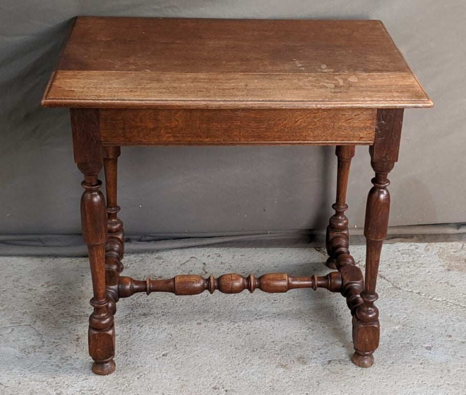 SMALL OAK RECTANGULAR TRESTLE BASE TABLE