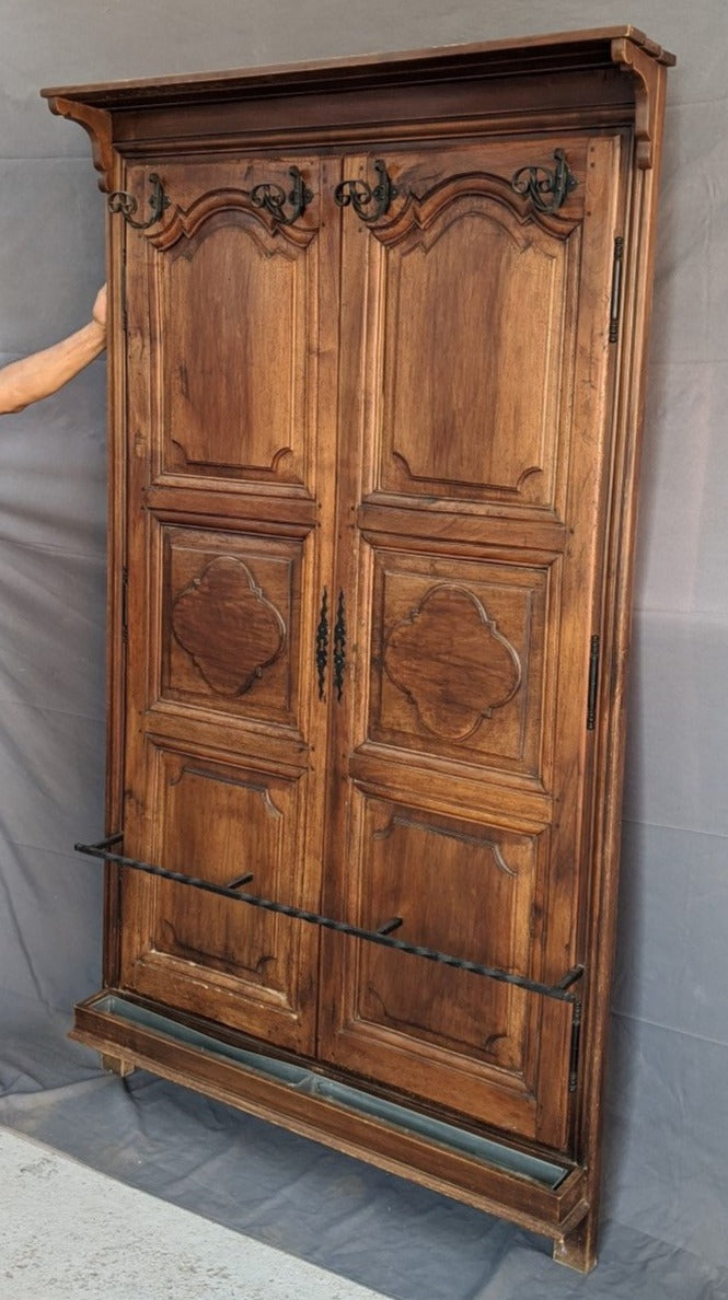 WALNUT HALL TREE MADE FROM ARMOIRE DOORS