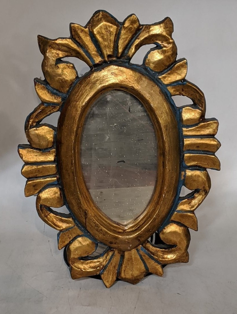 SMALL GOLD AND BLUE OVAL MIRROR