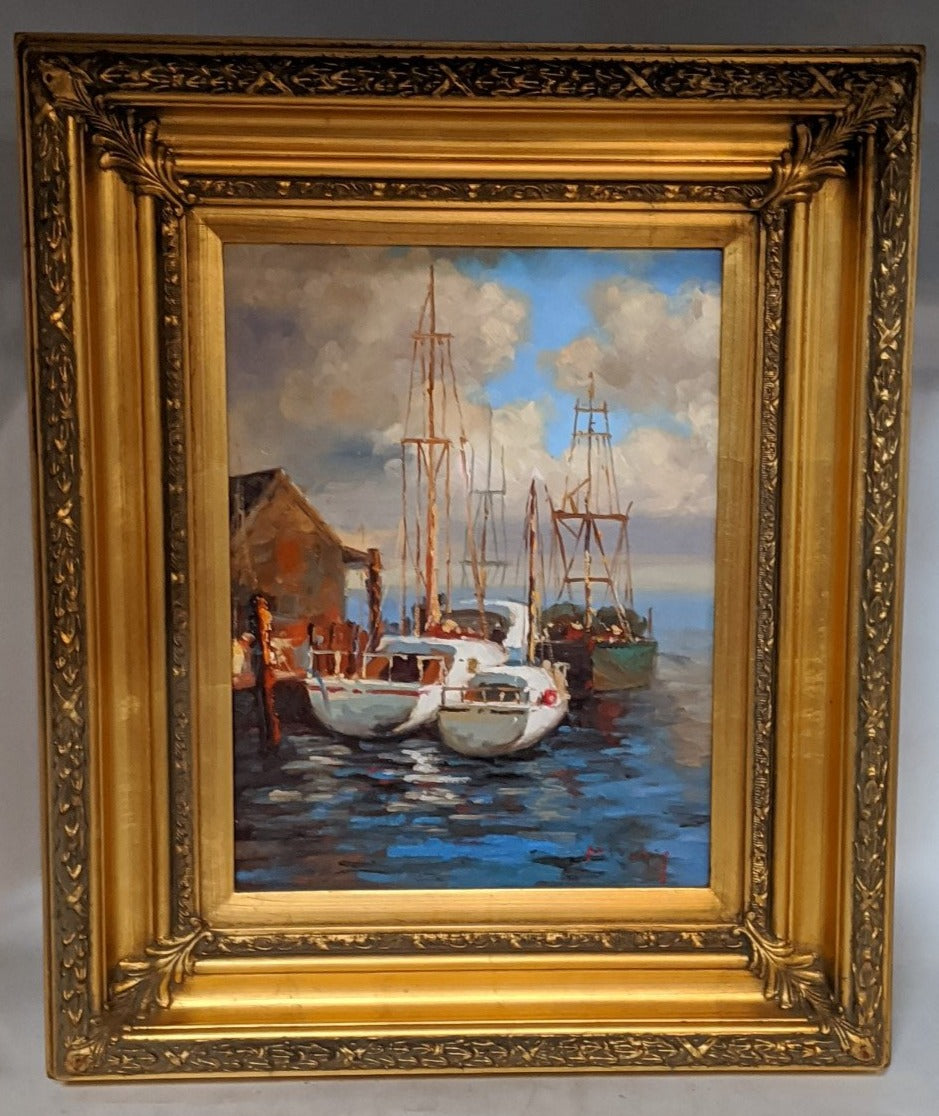 SMALL SAILBOAT OIL PAINTING ON CANVAS