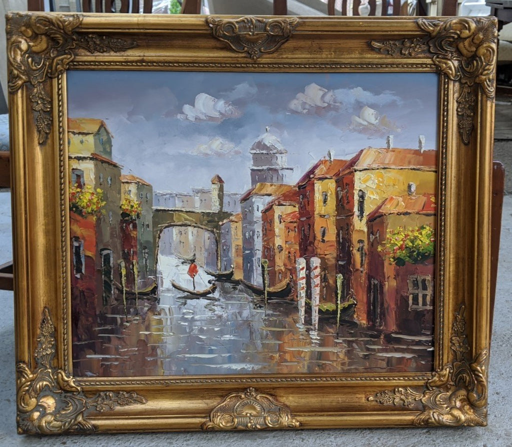 GOLD FRAMED ITALIAN CANAL OIL PAINTING ON CANVAS