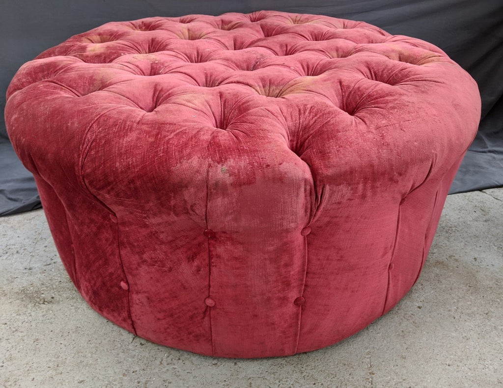 LARGE ROUND AS IS RED OTTOMAN