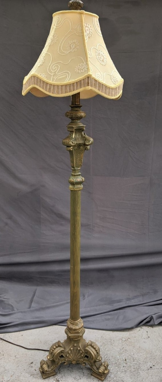 "NOT OLD ""ANTIQUE GOLD"" FLOOR LAMP WITH SHADES"