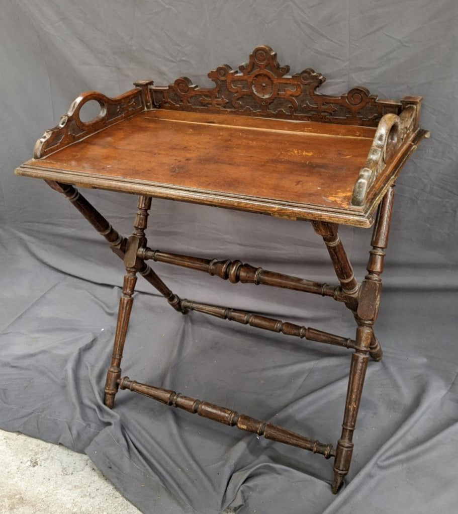CARVED OAK TRAY TABLE LARGE SIZE TURN OF THE CENTURY