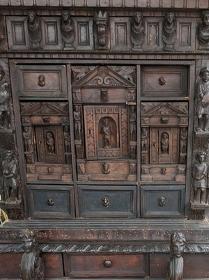 TALL FIGURAL CARVED 19TH CENTURY ITALIAN APOTHECARY CABINET