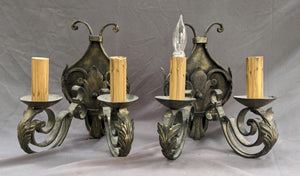 PAIR IRON LEAFY SCONCES PAINTED BLACK