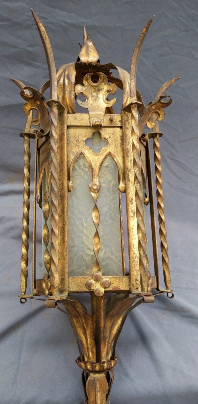 PAIR GOLD METAL TALL GOTHIC SCONCES