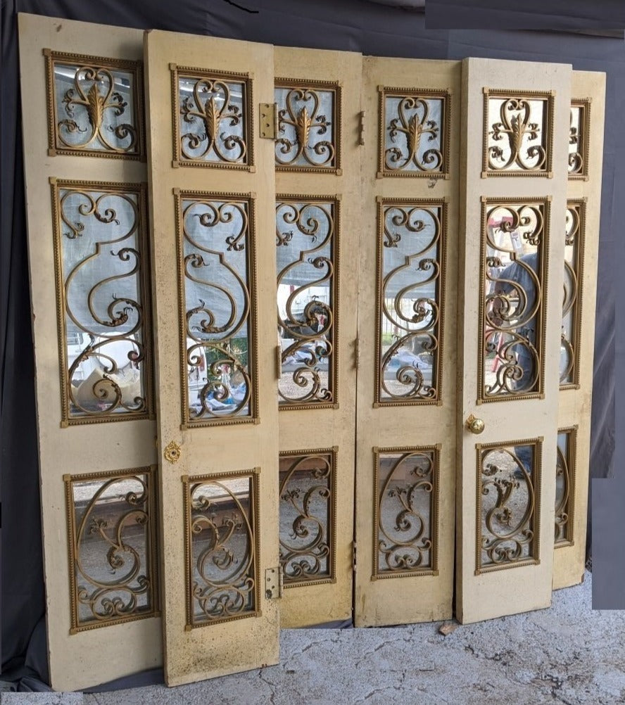 SET OF 6 FANCY FRENCH DOORS WITH IRON AND MIRRORS NARROW