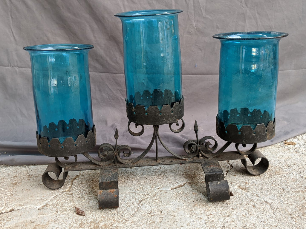 VERY LARGE IRON AND BLUE GLASS CENTER PIECE CANDELABRA