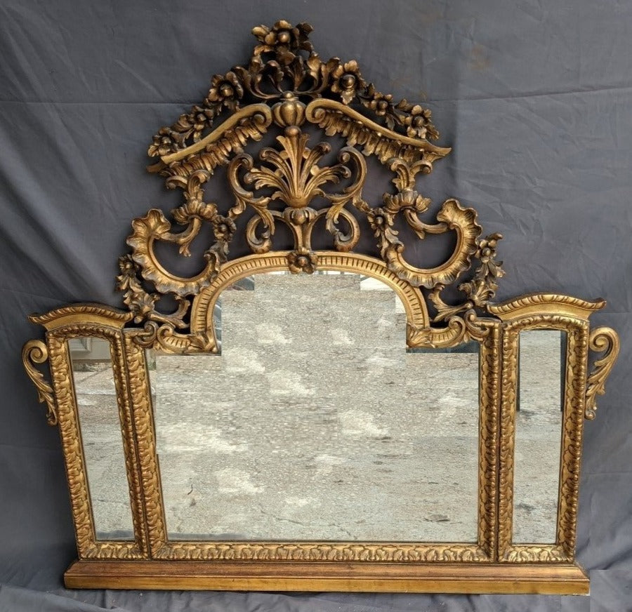 GOLD AS IS FRENCH 3 PANE VANITY MIRROR