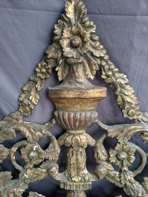 WOOD AND GESSO FRENCH DECORATIVE GREEN LARGE PEDIMENT OR DECOR