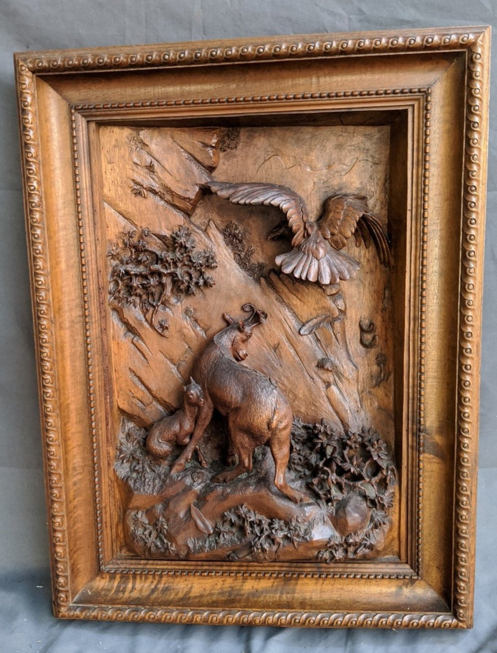 CARVED PLAQUE WITH GOATS AND EAGLES 19TH CENTURY