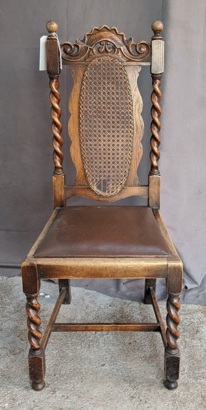 BARLEY TWIST CANED OVAL BACK SIDE CHAIR AS IS