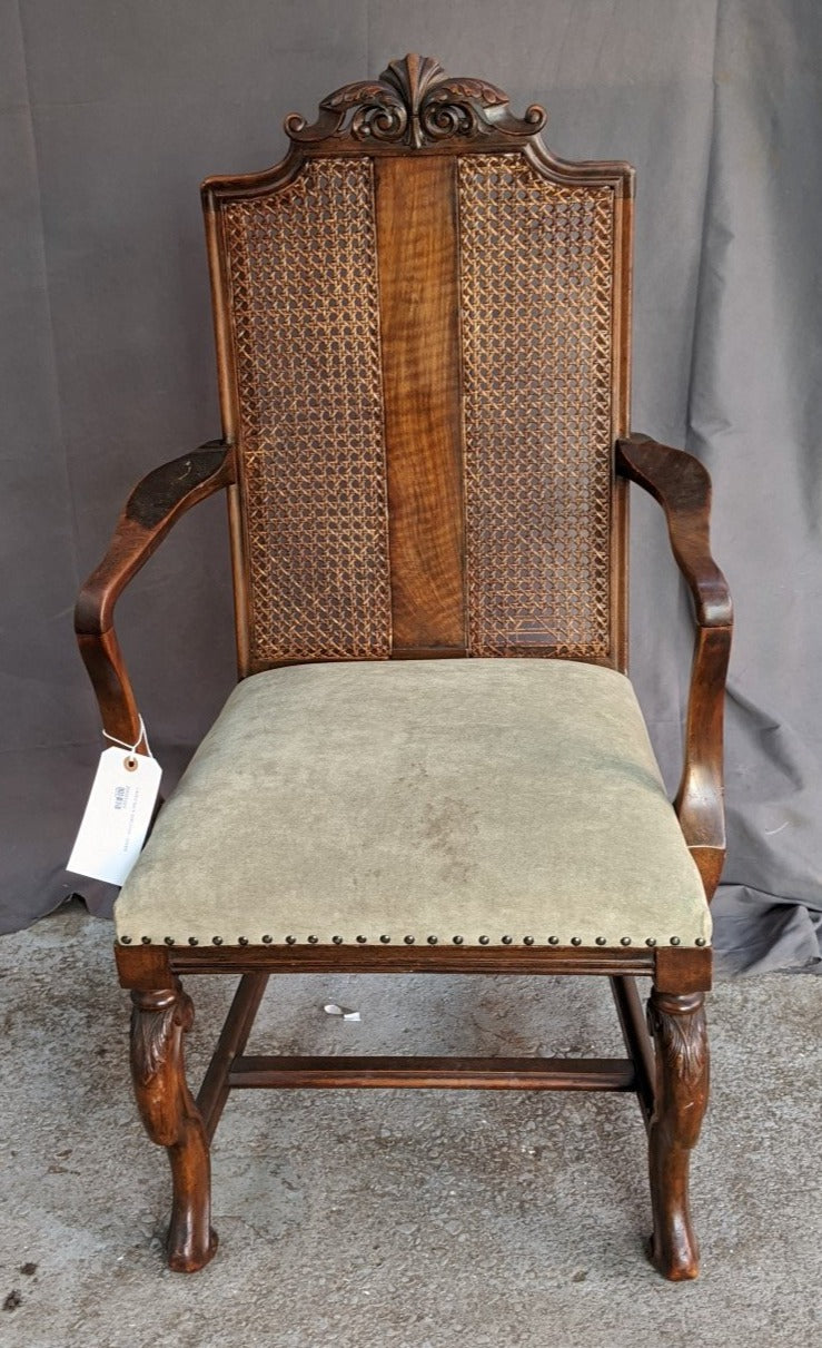 CANED BACK ARMCHAIR WITH GREEN UPHOLSTERY
