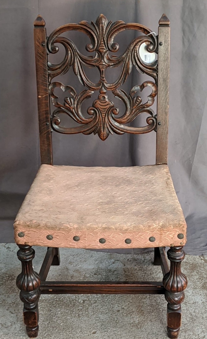 CARVED BACK ITALIAN SIDE CHAIR