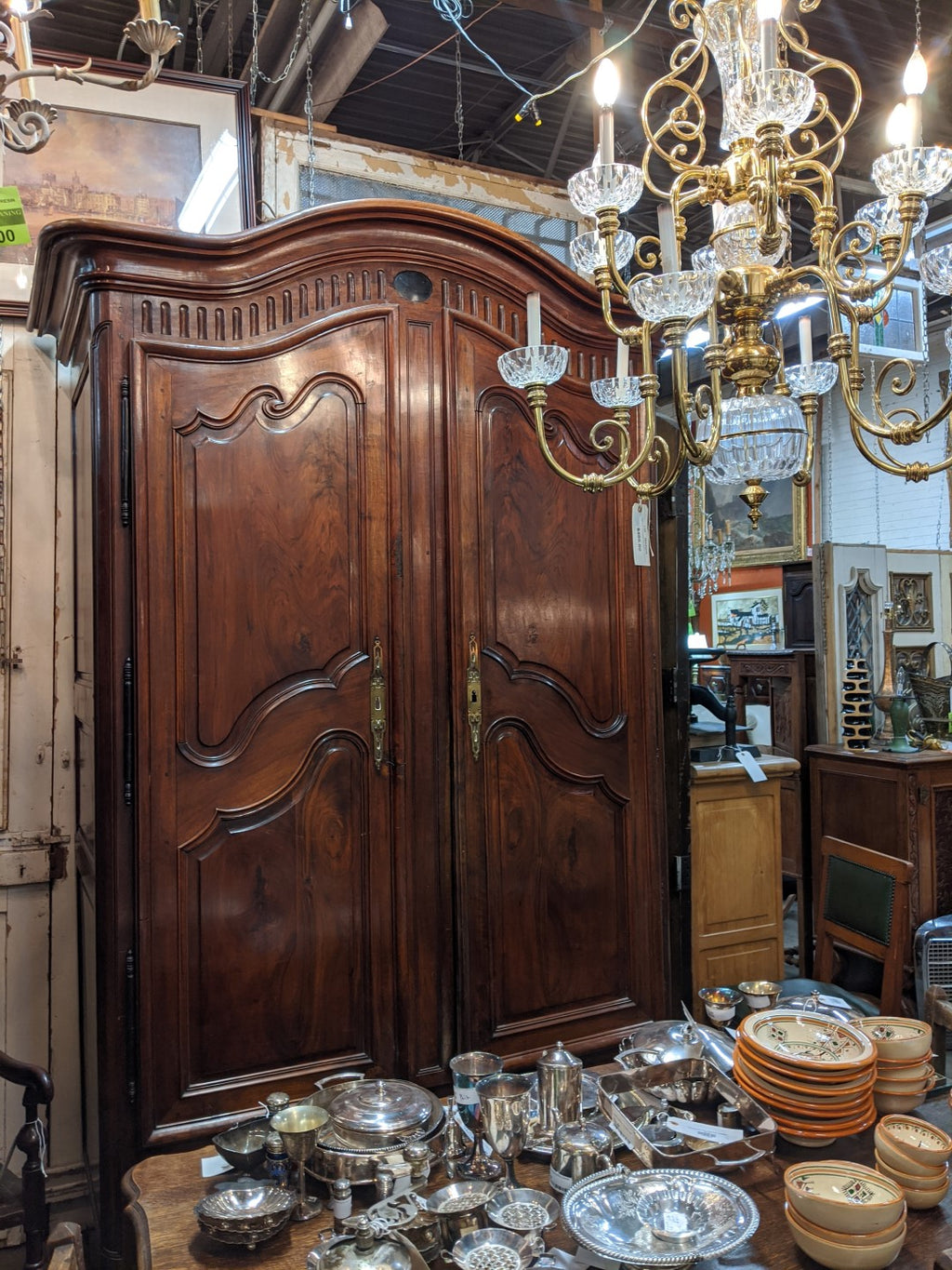 HUGE LOUIS XV WALNUT ARMOIRE