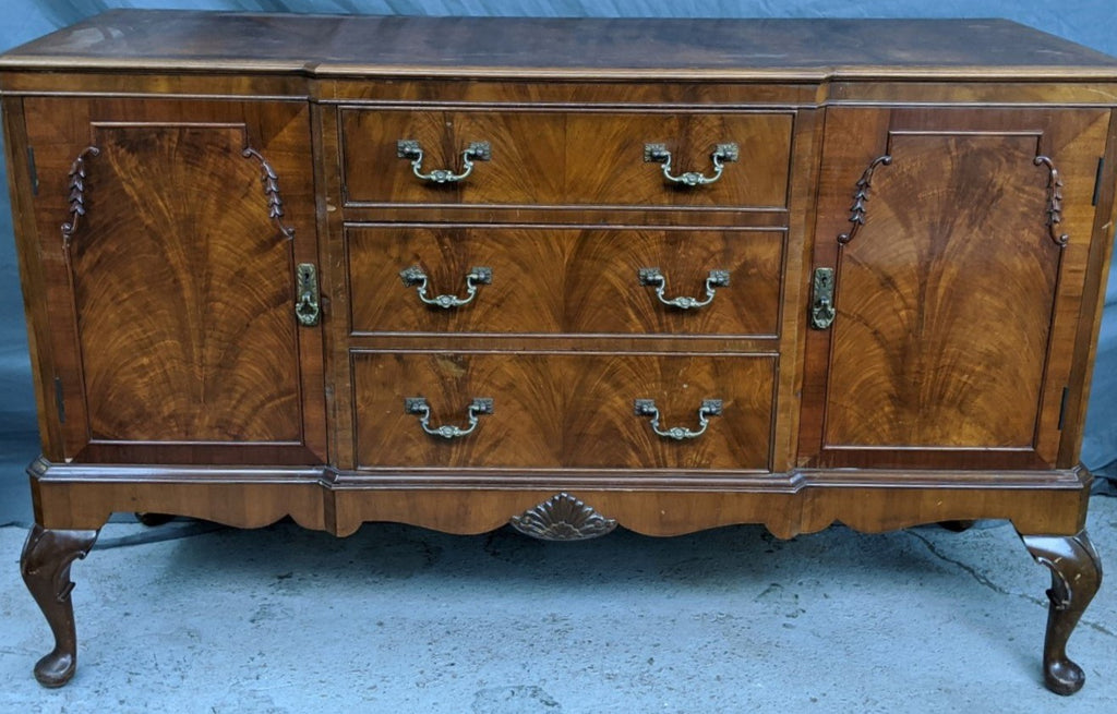 BURLED WALNUT QUEEN ANNE BUFFET AS FOUND
