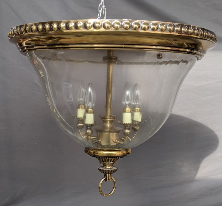 BRASS AND GLASS DOME CHANDELIER