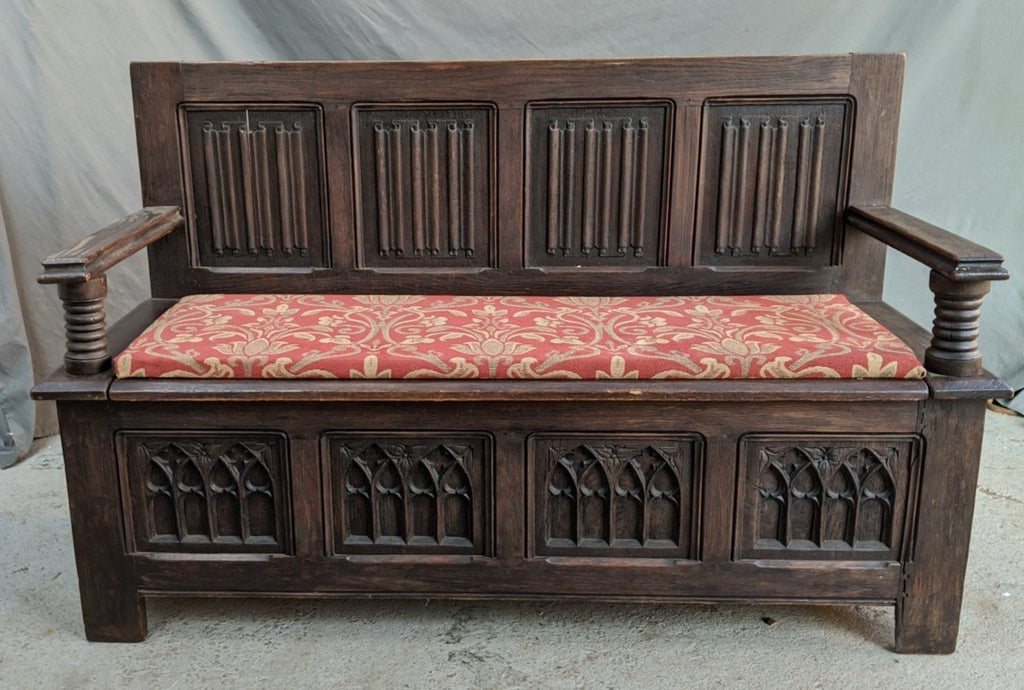 GOTHIC OAK BENCH WTH ORANGE UPHOLSTERY