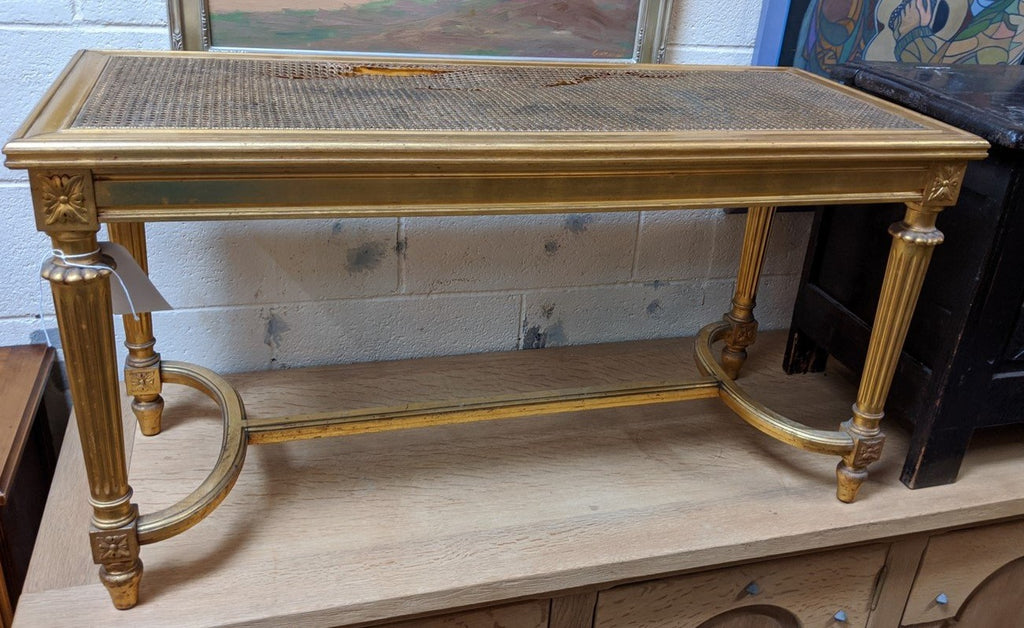 LOUIS XVI CANED GOLD BENCH WITH AS S CANED SEAT