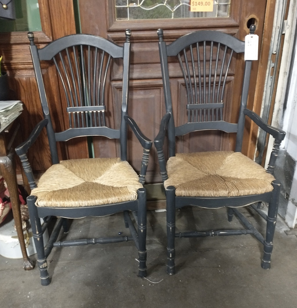 PAIR OF PAINTED BLACK CHAIRS