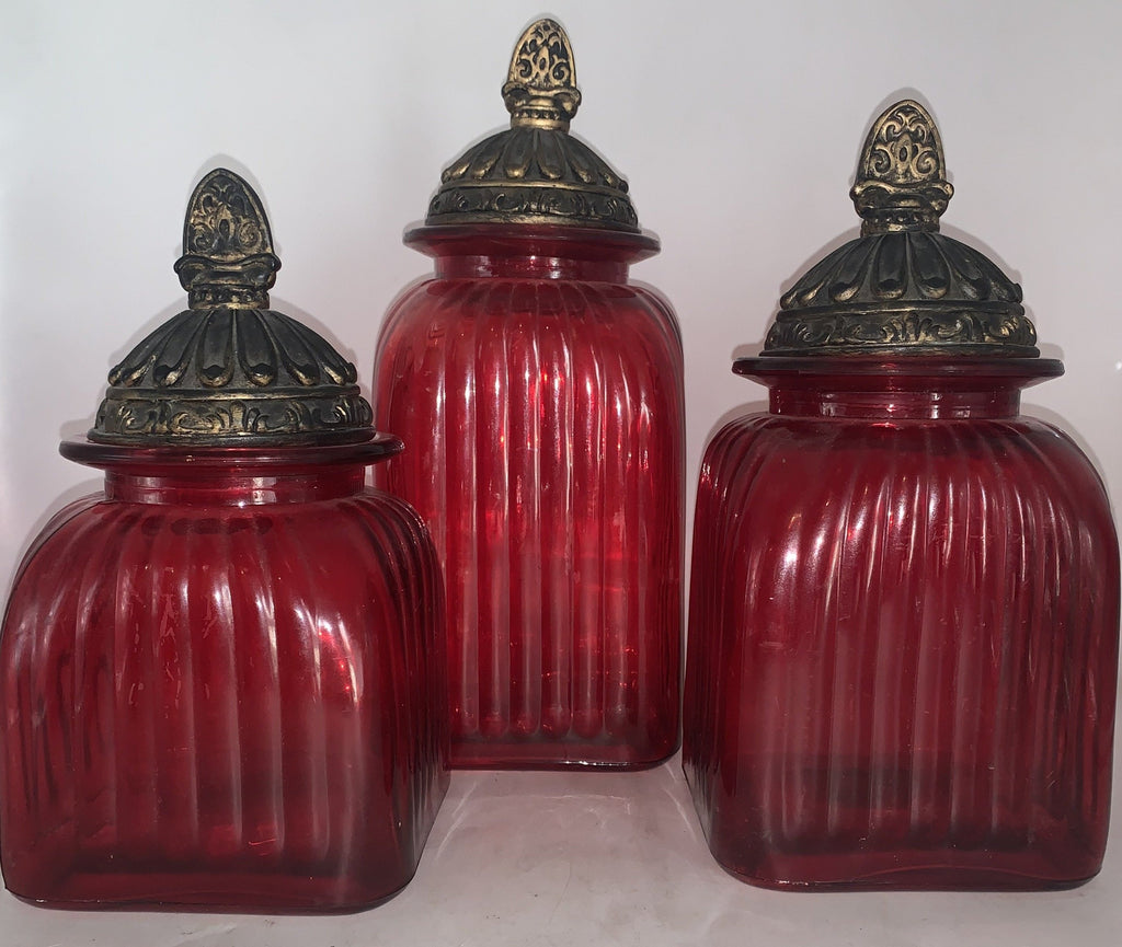 SET OF 3 RED GLASS CANISTERS