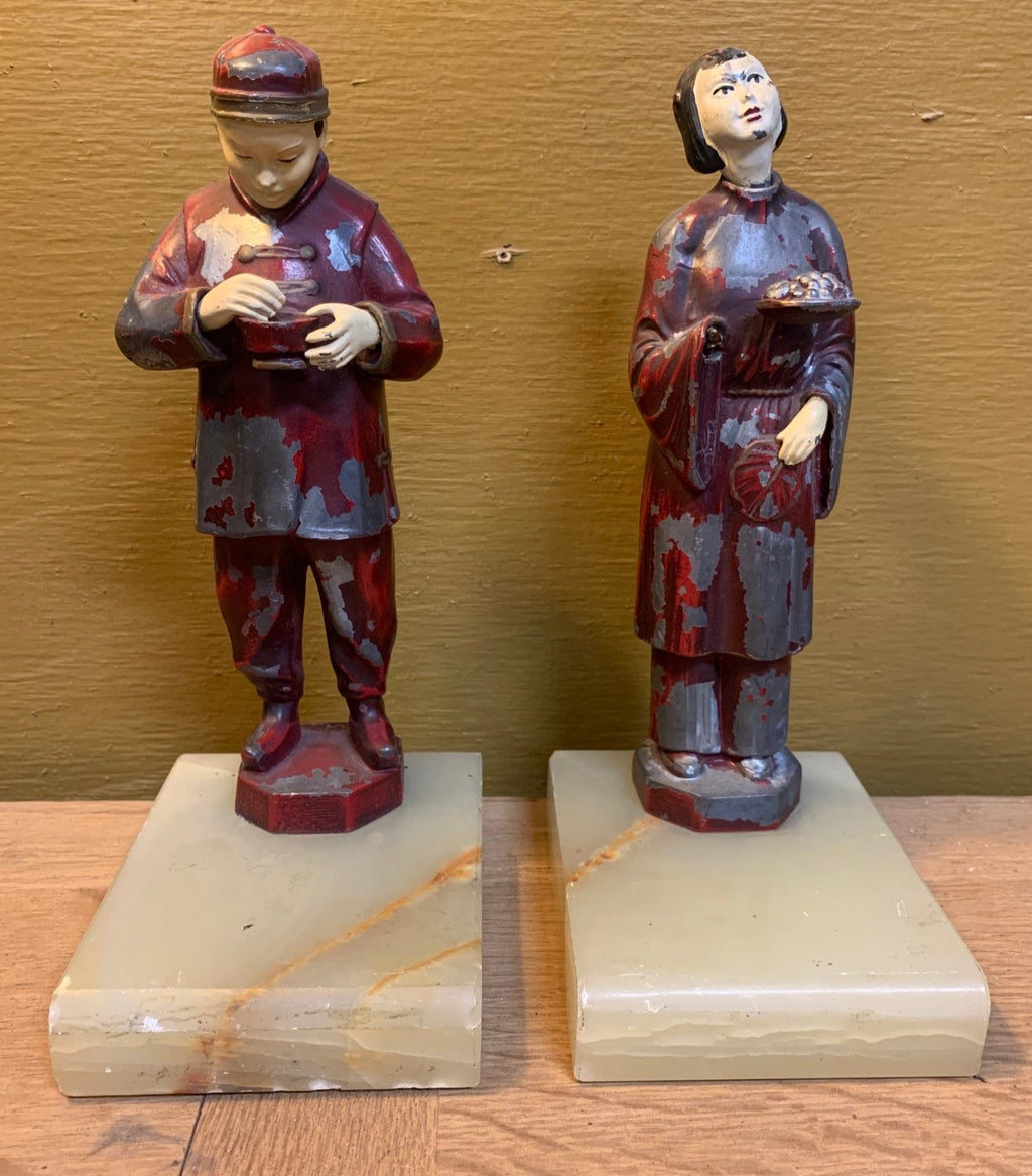 PAIR SMALL ASIAN COUPLE SCULPTURES WITH ONYX BASES - AS FOUND