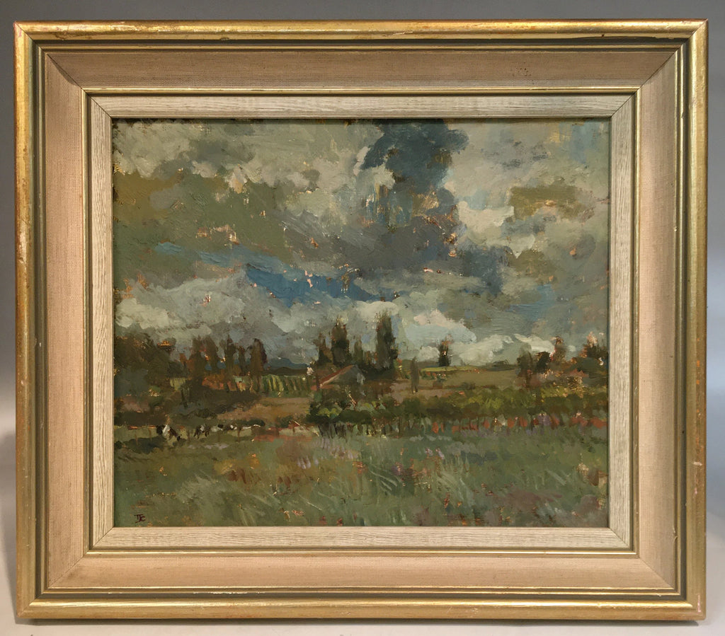 SMALL IMPRESSIONIST LANDSCAPE OIL PAINTING OF STORMY SKIES