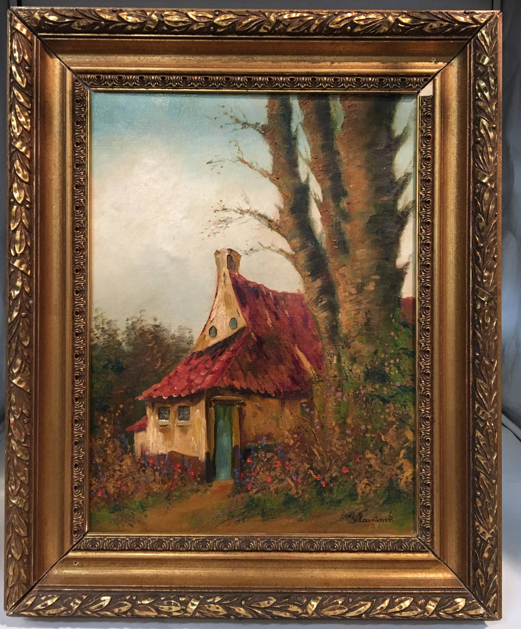 FRAMED OIL PAINTING OF HOUSE WITH RED ROOF