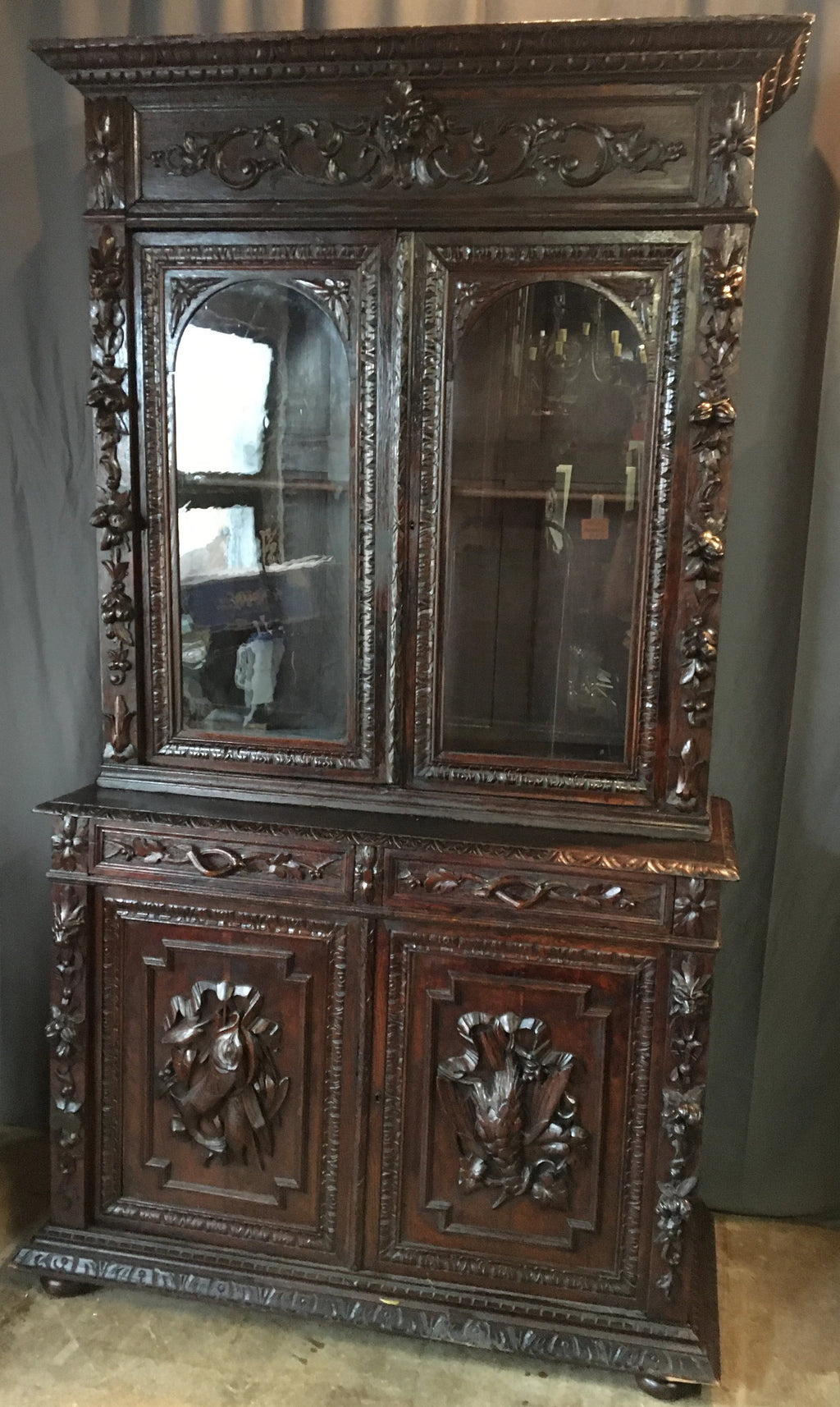 DARK CARVED HUNT BOOKCASE