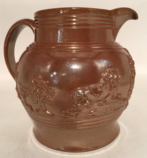 IRON STONE ENGLISH PITCHER WITH BROWN LUSTER FINISH