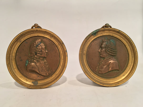 PAIR OF BRONZE PORTRAIT PLAQUES HANGING MEDALLIONS