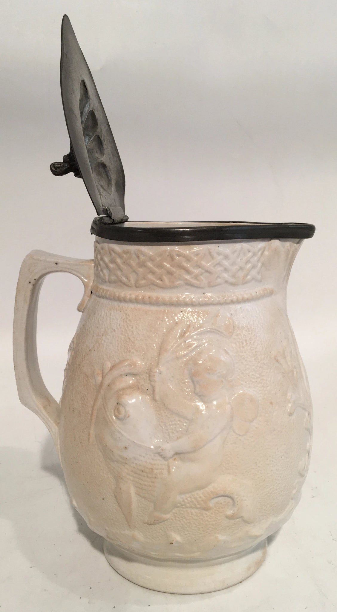 19TH C. SMALL IRON STONE WHITE PITCHER WITH DOLPHIN
