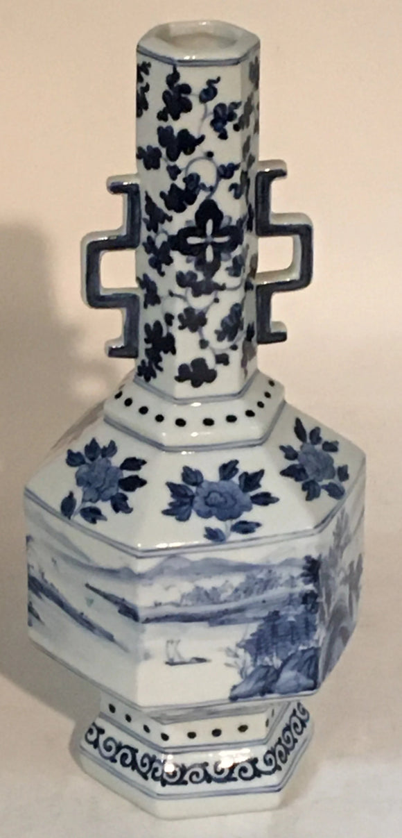 TALL PAINTED HEXAGONAL CHINESE BOTTLENECK VASE