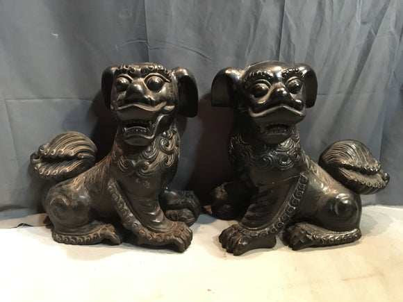 VERY LARGE PAIR OF BLACK WOOD CARVED FOO DOGS