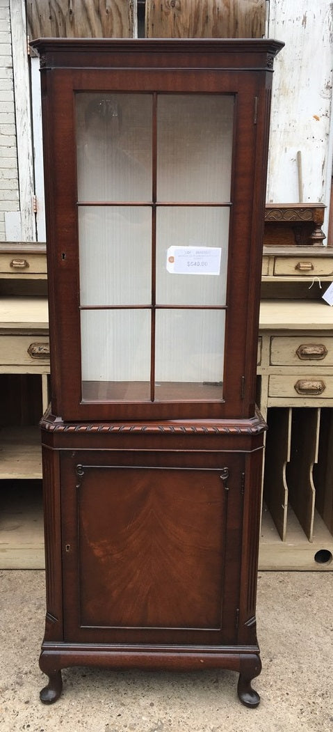 NARROW GEORGIAN STYLE WALNUT CHINA CABINET