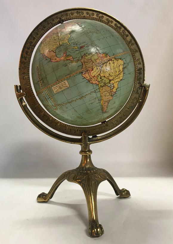 1920'S GLOBE ON BRASS STAND