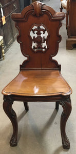 PAIR OF ENGLISH MAHOGANY HALL CHAIRS