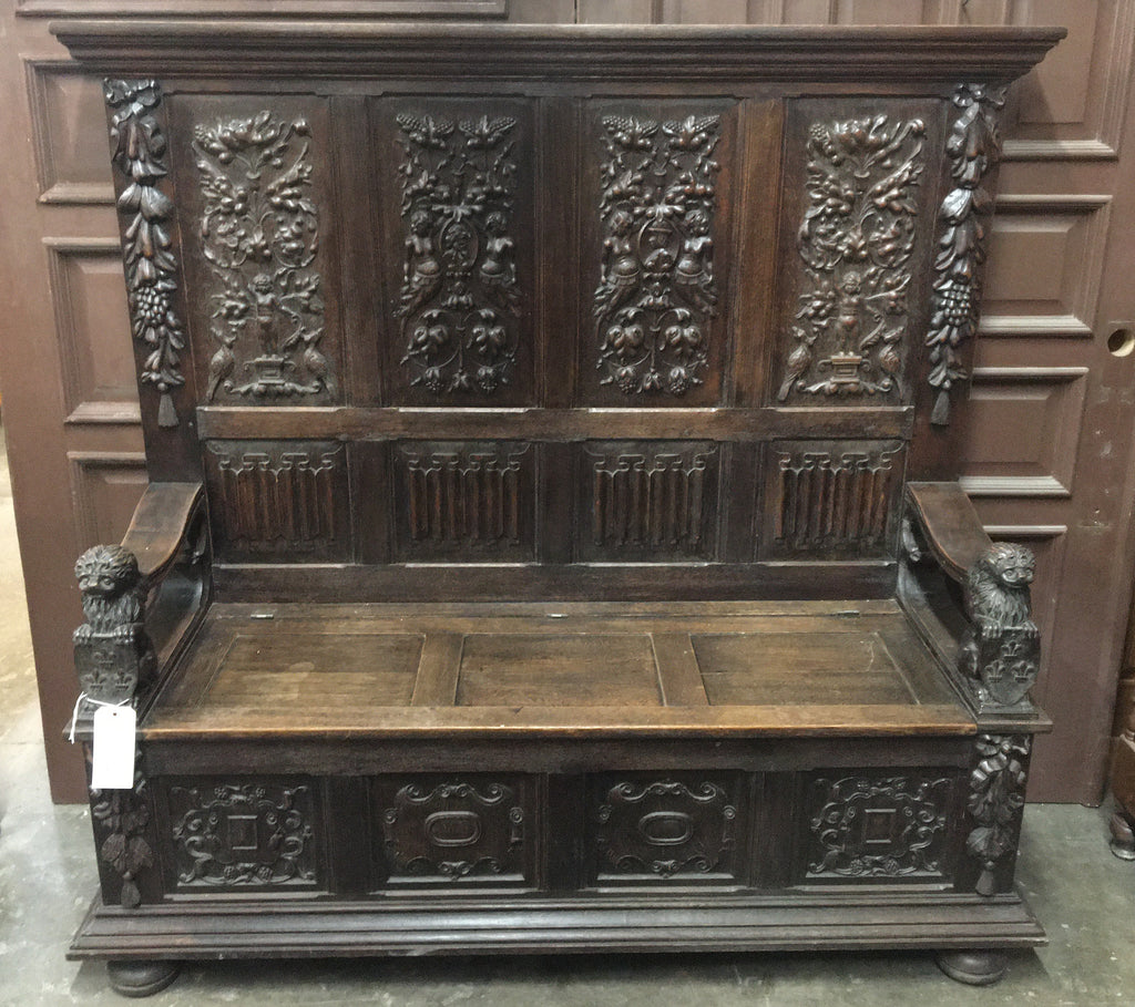 HIGH BACK OAK BENCH WITH CARVED LIONS