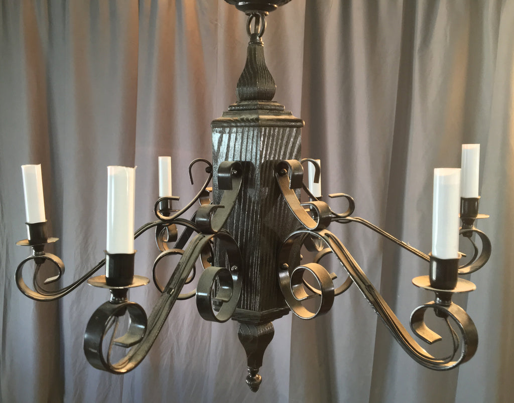 MEDITERRANEAN WOOD AND IRON CHANDELIER