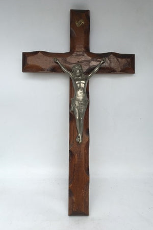 LARGE WOOD AND METAL CRUCIFIX