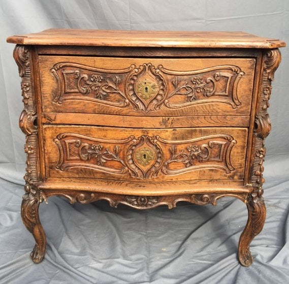 COUNTRY FRENCH CARVED 2 DRAWER DEEP CHEST