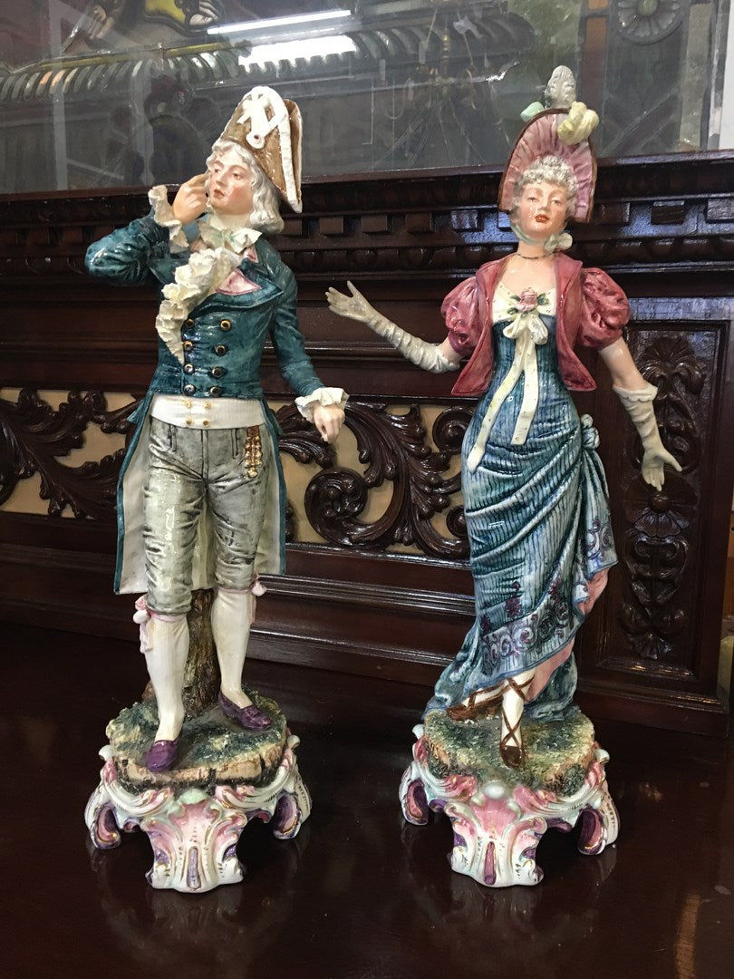 ORNATE FRENCH PORCELAIN MAN AND WOMAN FIGURES