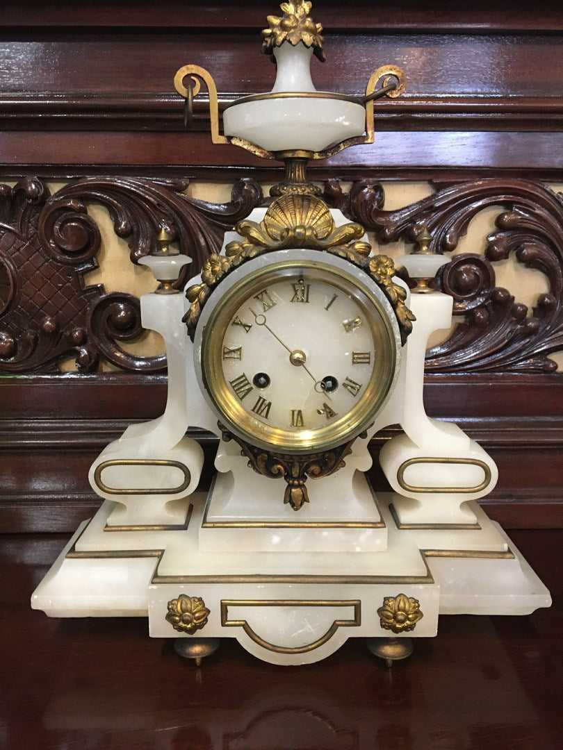 SMALL WHITE ALABASTER MANTLE CLOCK