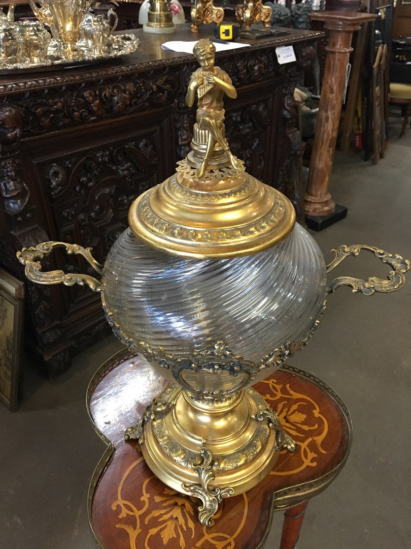 AS IS BRASS AND SWIRL GLASS HANDLED URN W/ PAN FINIAL