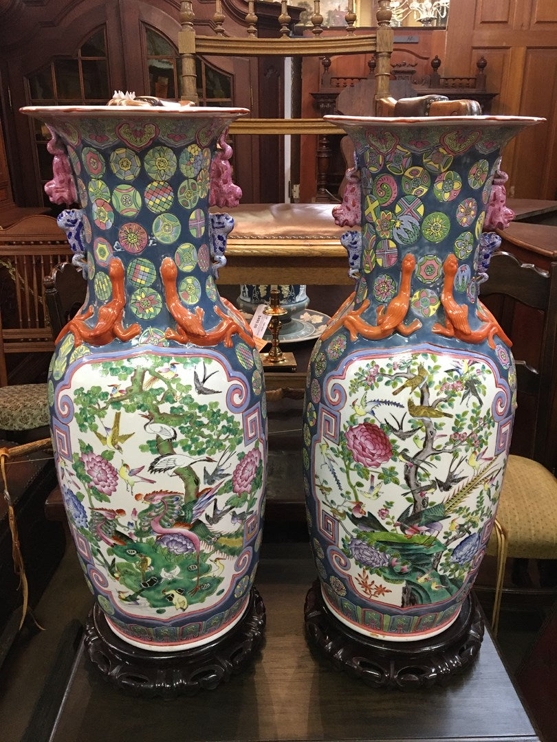 PAIR OF ASIAN TEMPLE URNS ON STANDS