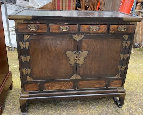CHINESE CONSOLE CABINET WITH BUTTERFLY HINGES