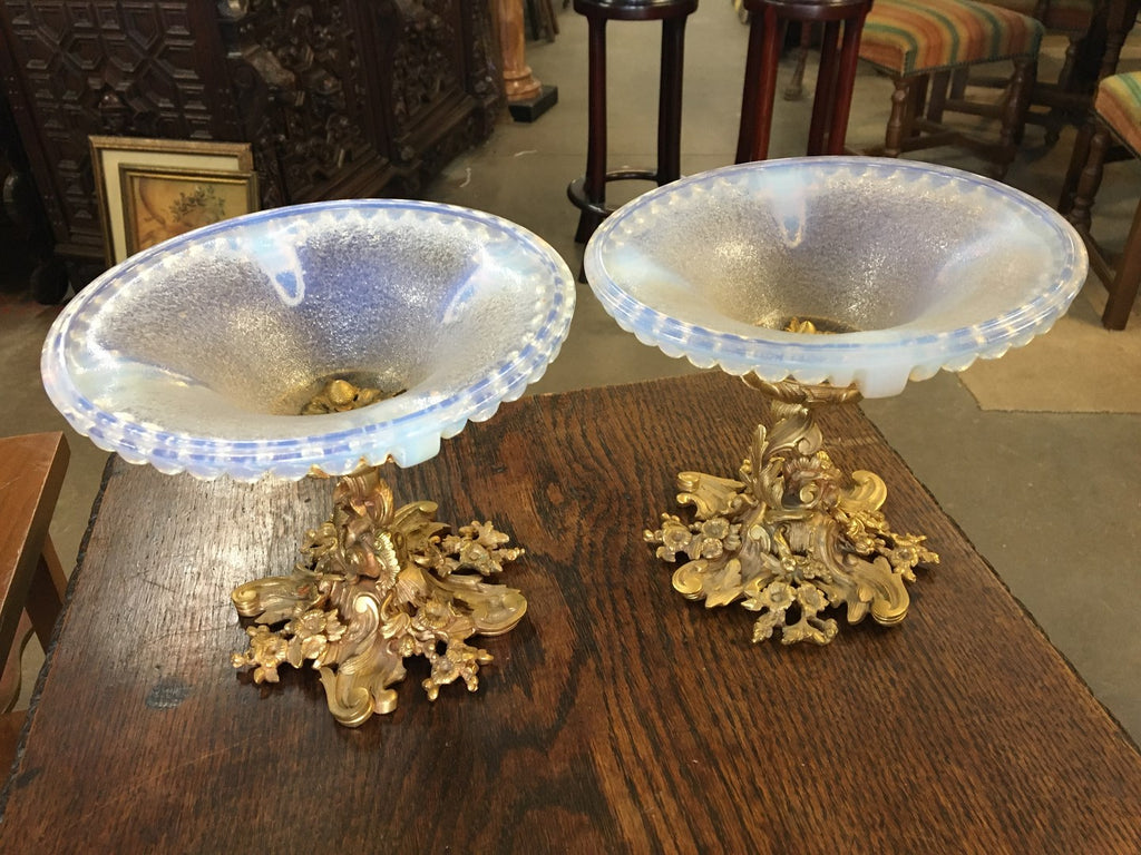 PAIR OF DORE BRONZE COMPOTES WITH OPALESCENT GLASS